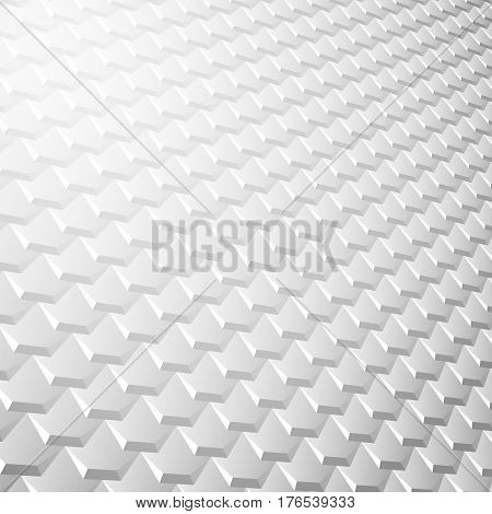 White background with pattern of hexagonal tiles overlayed like fish scales