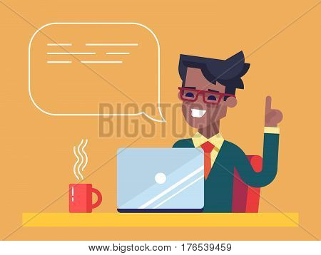 Handsome african american businessman working on his laptop holding up his index finger and giving advice. Attractive manager speaking with speech bubble. Vector illustration in the flat style.