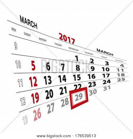 March 29, Highlighted On 2017 Calendar.