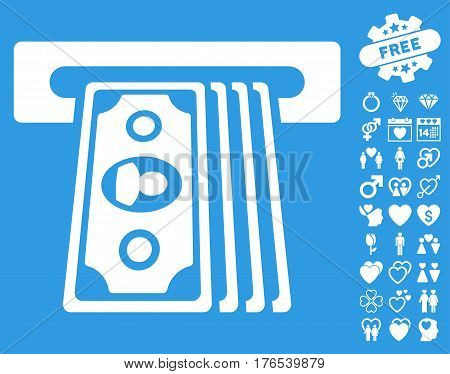 Cashpoint Terminal pictograph with bonus dating graphic icons. Vector illustration style is flat iconic symbols on white background.
