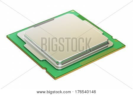 CPU computer processor unit 3D rendering isolated on white background