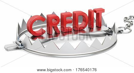 Credit trap 3D rendering isolated on white background