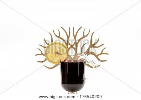 Glass Of Red Hot Mulled Wine With Decorative Wooden Tree