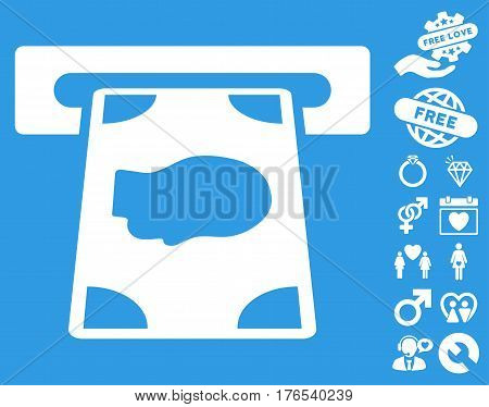 Cashpoint pictograph with bonus amour pictograms. Vector illustration style is flat iconic symbols on white background.