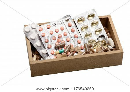 Set Of Pills And Capsules In Wooden Box