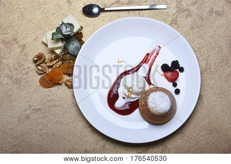 Cupcake Or Cake With Jam, Ice Cream, Berry, Dried Fruits
