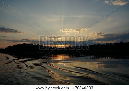 Scenic landscape of lake at near mountain with trees