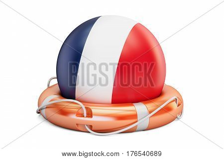 Lifebelt with France flag safe help and protect concept. 3D rendering