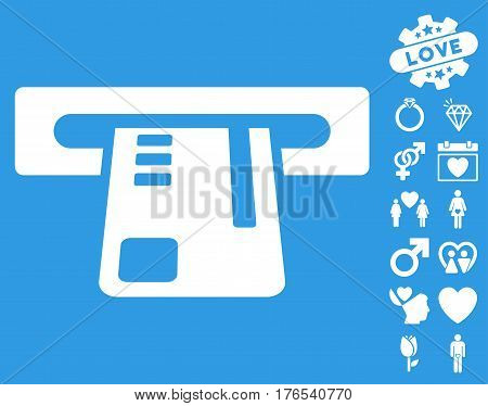 Ticket Terminal icon with bonus romantic pictures. Vector illustration style is flat iconic symbols on white background.