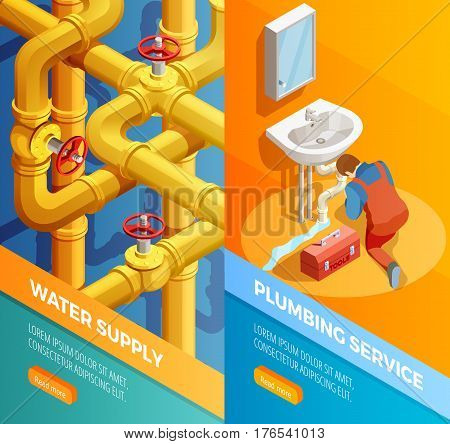 Water supply problems fixing 2 vertical isometric banners set with plumbing leak bathroom sink isolated vector illustration