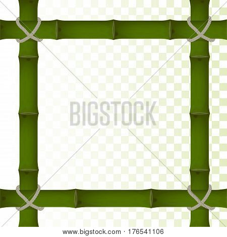 vector frame made of bamboo on a transparent background. bound by a rope. for design