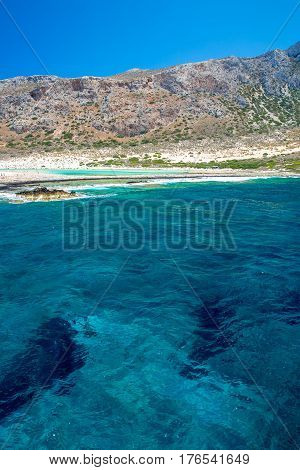 Balos beach. View from Gramvousa Island Crete in Greece.Magical turquoise waters lagoons beaches of pure white sand.