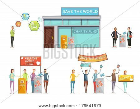Charity design concept with place for donation and activists with placards calling to save world flat vector Illustration