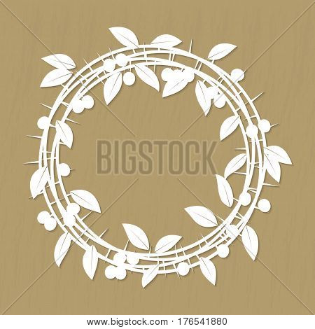 Vector Blackthorn berries branches and leaves frame for laser or plotter cutting, on film, wood, plastic and over materials. Illustrations vintage design