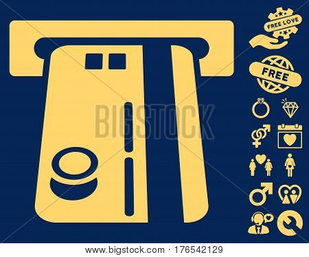 Bank ATM pictograph with bonus passion icon set. Vector illustration style is flat iconic symbols on white background.