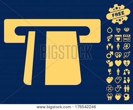 Bank Card Terminal pictograph with bonus amour pictures. Vector illustration style is flat iconic symbols on white background.
