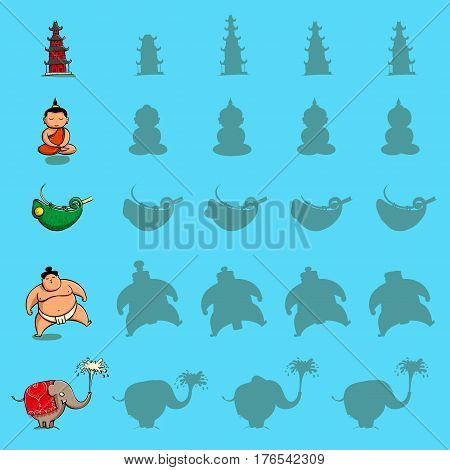 Find the right shadow visual games. Five games Set. Solution in hidden layer! Theme is Asia. Illustration is in eps10 vector mode.
