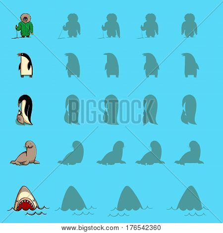 Find the right shadow visual games. Five games Set. Solution in hidden layer! Theme is Antarctic. Illustration is in eps10 vector mode.