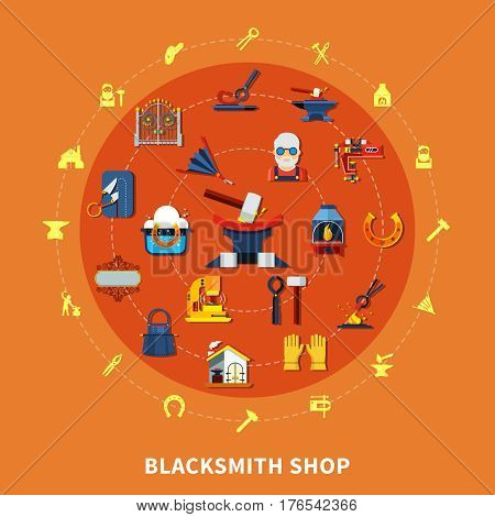 Blacksmith round composition with colorful forged product icons inscribed in circle with hammerwork equipment silhouette pictograms vector illustration
