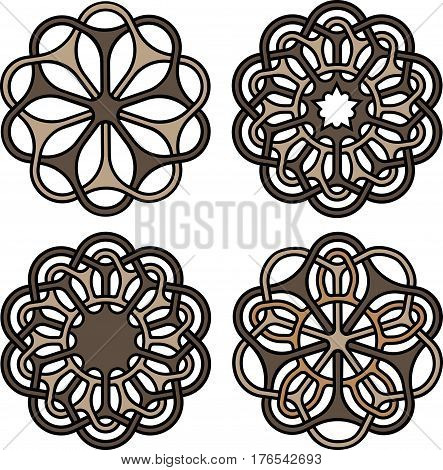 Oriental and celtic outline knots or abstract geometry design elements isolated on white background. Ornate mandalas or tattoo symbols set. Vector illustration