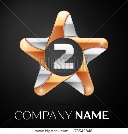 Number two vector logo symbol in the colorful star on black background. Vector template for your design