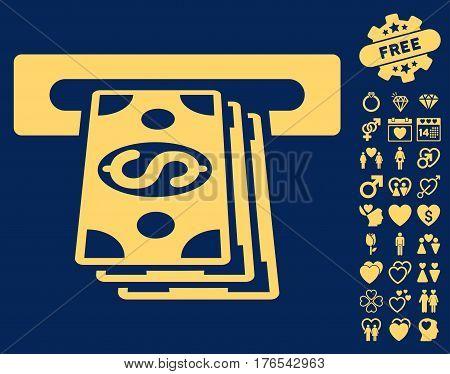 Cash Machine pictograph with bonus amour design elements. Vector illustration style is flat iconic symbols on white background.
