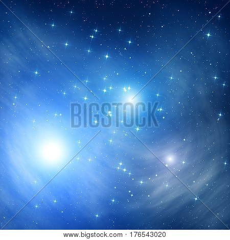 Milky way stars on a dark cosmos sky. 2D render / illustration.