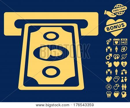 Cashpoint Terminal pictograph with bonus amour images. Vector illustration style is flat iconic symbols on white background.