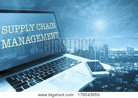 SCM (SUPPLY CHAIN MANAGEMENT): Grey computer monitor screen. Digital Business and Technology Concept.