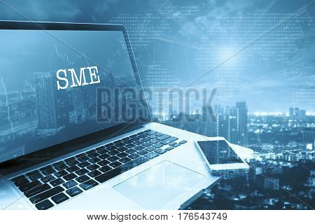 SMEs (SMALL AND MEDIUM-SIZED ENTERPRISES): Grey computer monitor screen. Digital Business and Technology Concept.