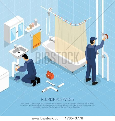 Plumber with bath sink and pipes repair symbols isometric vector illustration