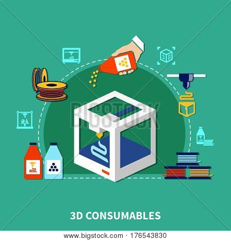 Design concept of consumables for 3d printer on green background with decorative icons showing plastic cartridges and polymer granules flat vector illustration