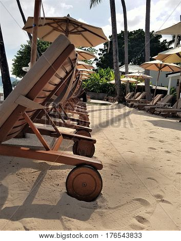 A sunny day lounging on wooden deck chairs in Koh Samui