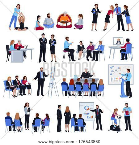 Professional business life and sport coaching spiritual expert adviser mentoring concept flat icons collection isolated vector illustration