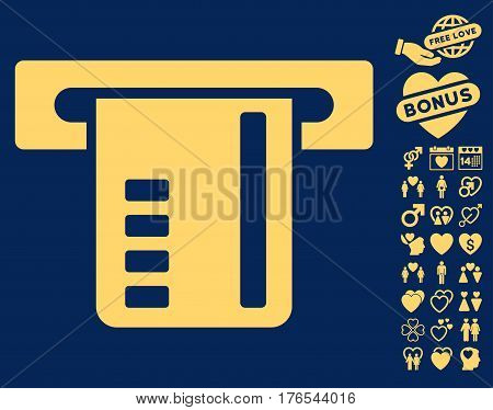 Ticket Terminal pictograph with bonus love pictograph collection. Vector illustration style is flat iconic symbols on white background.