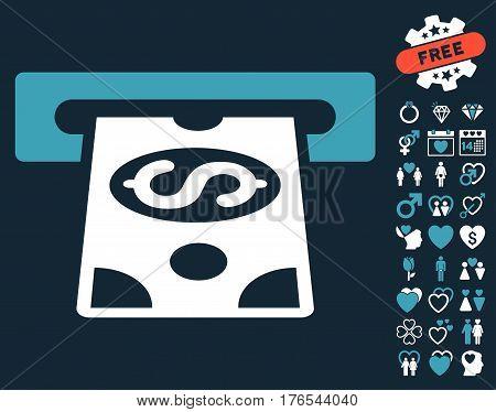 ATM Cashout icon with bonus amour symbols. Vector illustration style is flat iconic symbols on white background.