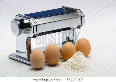 Pasta machine and ingredients