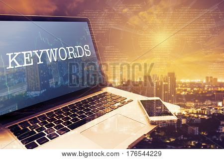 KEYWORDS: Grey screen laptop computer. Vintage effects. Digital Business and Technology Concept.