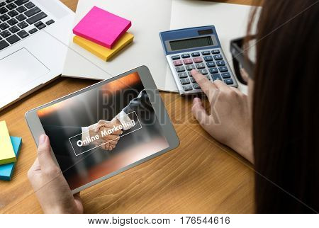 Online Advertising Man Working On Laptop , Online Website Marketing , Update Trends  Advertising , O