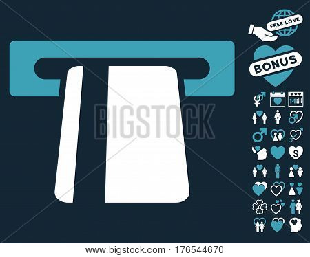 Automated Banking Service pictograph with bonus amour pictograph collection. Vector illustration style is flat iconic blue and white symbols on dark blue background.