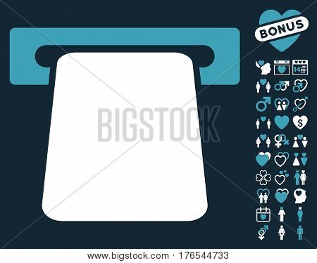 Bank ATM icon with bonus passion pictures. Vector illustration style is flat iconic symbols on white background.
