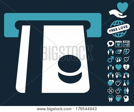 Bank Card Terminal pictograph with bonus amour clip art. Vector illustration style is flat iconic symbols on white background.