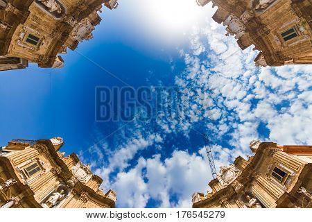 Quattro Canti (Piazza Vigliena) is a Baroque square in Palermo Sicily southern Italy.