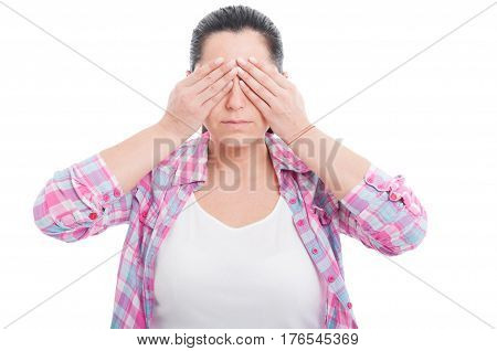 Woman In The See No Evil Pose