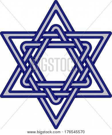 Star of David weaved icon. Israel symbol isolated on white background. Jewish sacred symbol. Vector illustration
