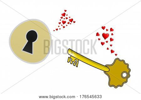 Love at first sight, a key falls in love with a lock,