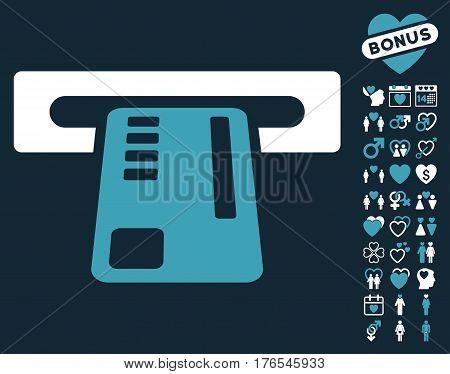 Ticket Machine icon with bonus dating clip art. Vector illustration style is flat iconic symbols on white background.