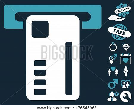 Ticket Machine pictograph with bonus romantic pictograph collection. Vector illustration style is flat iconic symbols on white background.