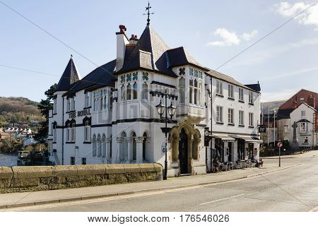 Llangollen Wales UK - March 9 2017: The Royal Hotel on Castle Street Llangollen overlooking the River Dee built in 1752 and once hosted Queen Victoria. Llangollen is a major gateway town for North Wales
