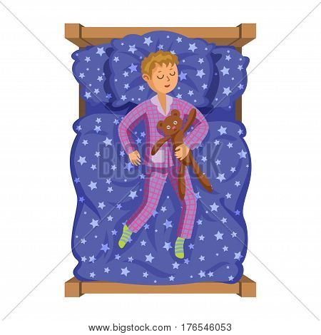 Cartoon smile little boy sleeping in the bed with teddy bear. Sweet dreams. Kid's activity. Vector Illustration